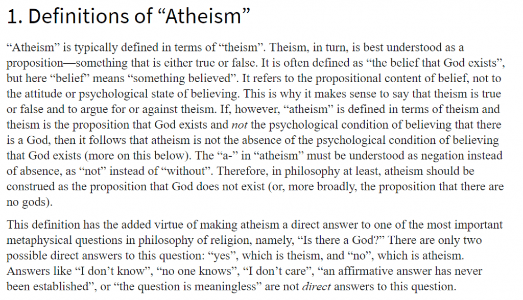 Definitions of Atheism