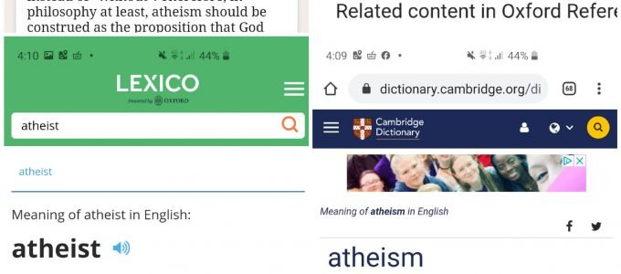 Atheist definitions