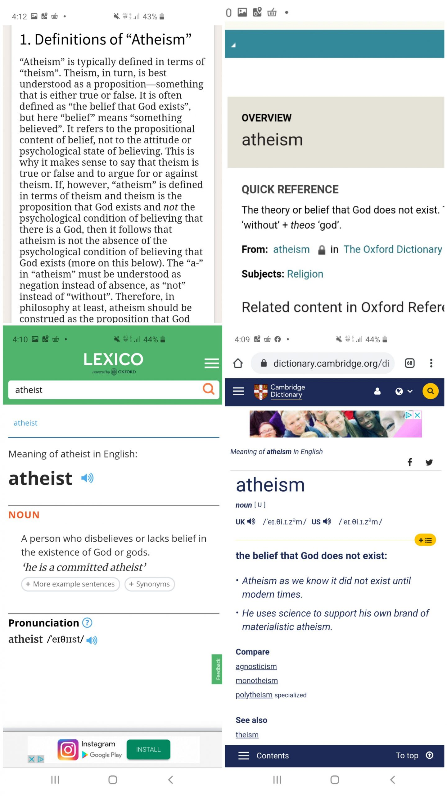Atheist definitions