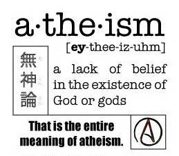 Atheism defined as a lack of belief